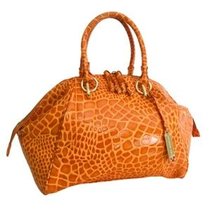 Antonio Melani Orange Croc Embossed Satchel